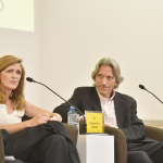 Ambassador Samantha Power and John Prendergast reflect on how to create change, at the Aurora Prize