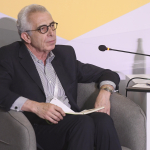 Ernesto Zedillo on stage at the Aurora Dialogues