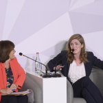 Jane Corbin and Samantha Power at the Aurora Dialogues