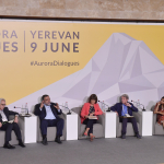 Ernesto Zedillo, Ruben Vardanyan, Jane Corbin, Bernard Kouchner, and Preethi Nallu at the Aurora Dia