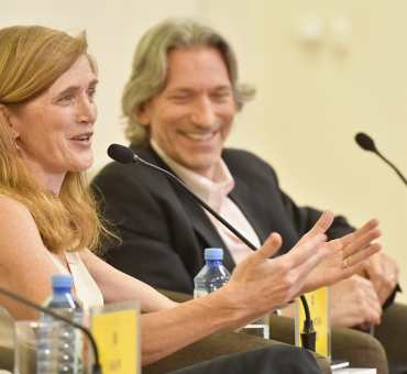 Ambassador Samantha Power and John Prendergast in conversation at the Aurora Prize weekend main image