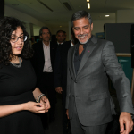 George Clooney is shown UWC Dilijan by recipient of the Amal Clooney Scholarship