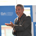 George Clooney speaks to the students of UWC Dilijan