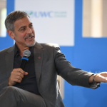 Aurora Prize Co-Chair George Clooney addresses students at UWC Dilijan in April 2016