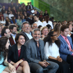 Aurora Prize Co-Chair George Clooney meets UWC Dilijan students in April 2016