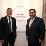 George Clooney Ruben Vardanyan at pledge wall